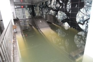 Escalator under water at the South Ferry, taken from images released by the MTA of New York's subway system after Hurricane Sandy, October 2012.