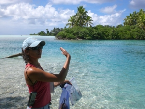 Melissa collecting sediment samples on Palmyra Atoll, 2008. Photo credit: USFWS.