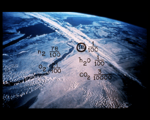 Part of the Golden Record on Voyager 1 - the composition of Earth's atmosphere (as it was in the 1970s, at least).