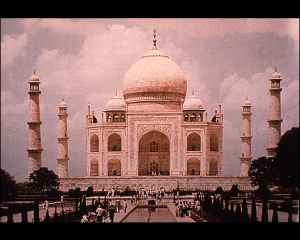 Part of the Golden Record on Voyager 1 - the Taj Mahal.